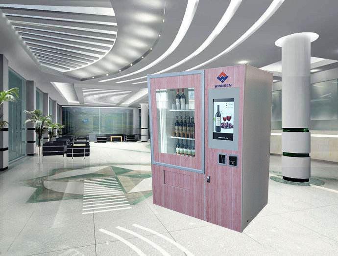 distributeur automatique de vin rouge avec 22 cran tactile et ascenseur de la publicit. Black Bedroom Furniture Sets. Home Design Ideas