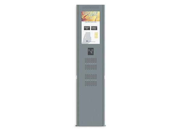 24 Port Sharing Rental Station Movable Charging Kiosk With 22 Inch Advertising LCD Screen